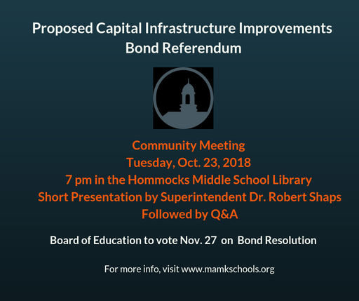 Tuesday, Oct. 23: Community Meeting on Proposed Bond Referendum