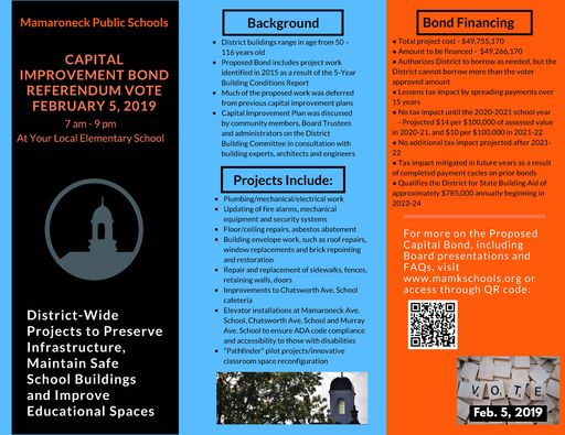 Proposed Capital Improvement Bond in a Nutshell: Feb. 5 Community Vote